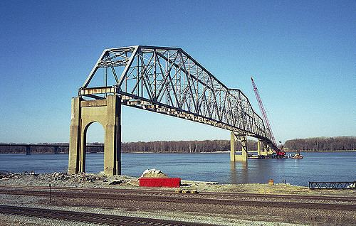 Hannibal Bridge Old Hannibal Bridge The old Hannibal MO bridge during demo apo