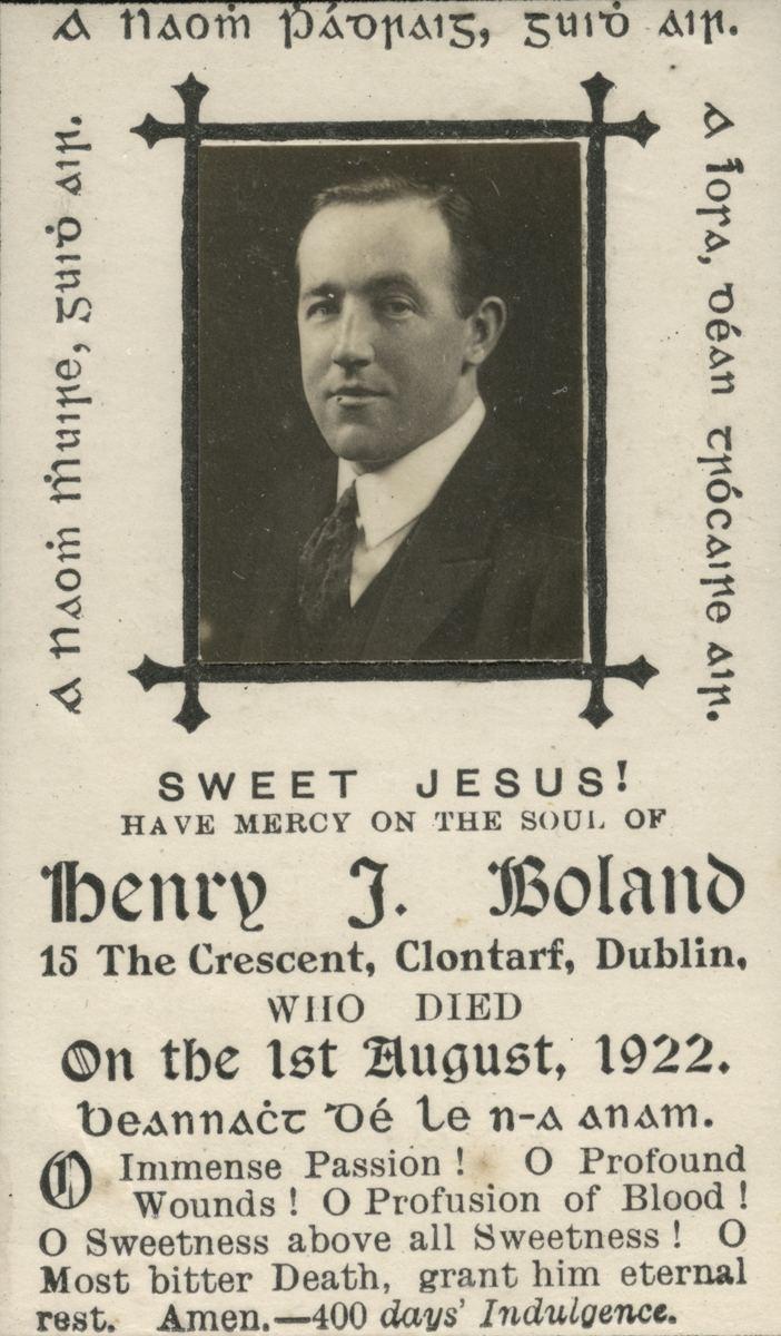 Harry Boland (trade unionist) Mass card of Harry Boland Album ODonovan County CorkAlbum O
