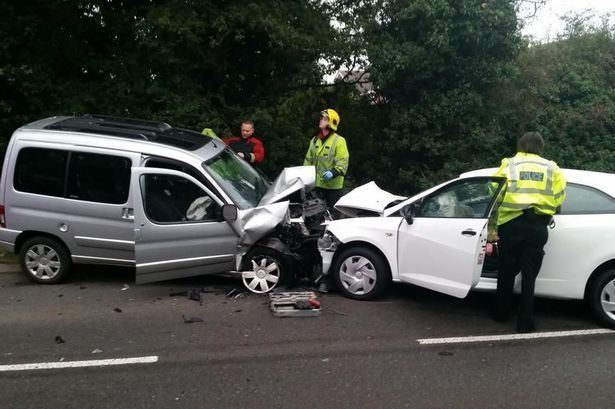 Head-on collision Two escape with minor injuries after head on collision in