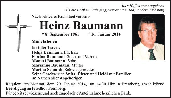 Heinz Baumann Heinz Baumann Mnchshofen Traueranzeige