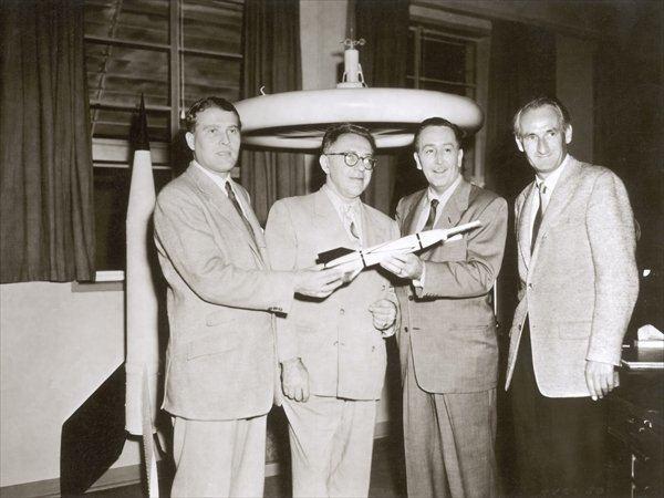 Heinz Haber Wernher von Braun Willy Ley Walt Disney and Heinz Haber