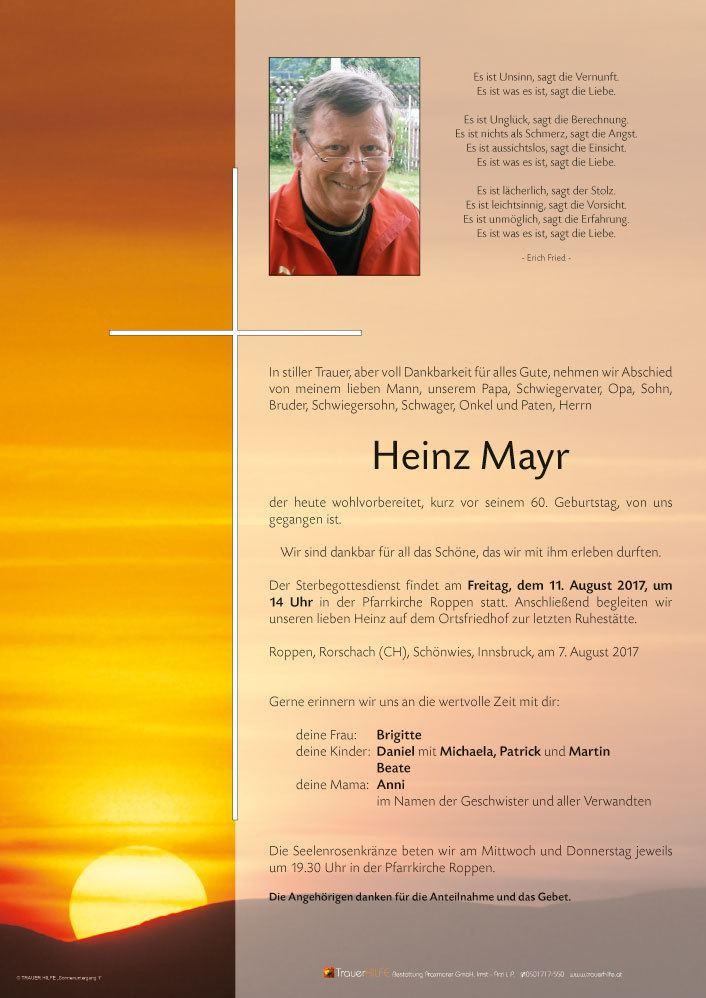 Heinz Mayr Verstorbener Herr Heinz Mayr Trauerhilfe Bestattungs GesmbH