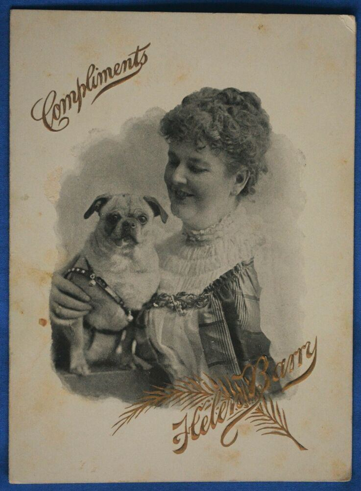 Antique 1891 Invitation Photo Woman Actress Helen Barry Pug Dog ...