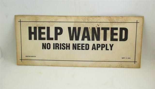 Help Wanted (1915 film) Help Wanted No Irish Need Apply Sept 1915 Bar Humor Sign eBay