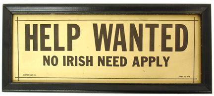 Help Wanted (1915 film) 1915 Help Wanted No Irish Need Apply by Boston Sign Co Framed