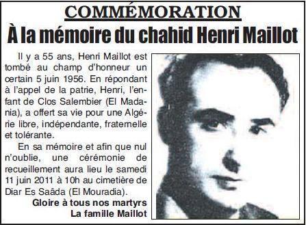 Henri Maillot A quand une rue au tratre communiste Henri Maillot qui a livr des