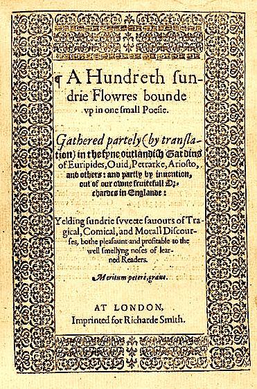 Henry Bynneman A Hundreth Sundrie Flowres 1573 de Vere Henry Bynneman Edward