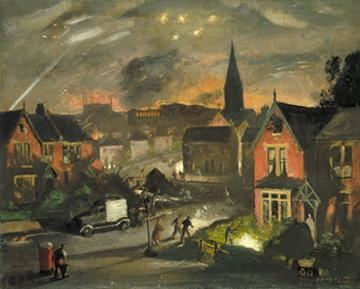 Henry Carr (artist) WarMuseumca Art and War Incendiaries in a suburb Henry Carr RA