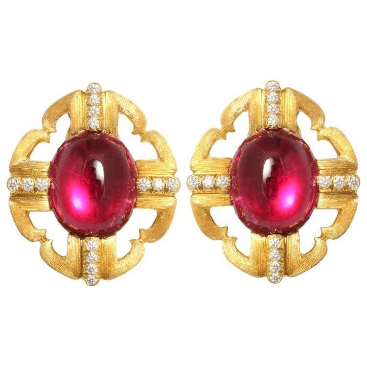 Henry Dunay Incredible Henry Dunay Rubellite and Diamond Earrings at