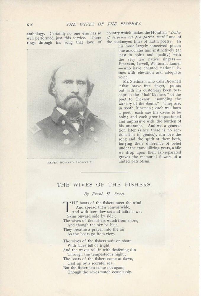 Henry Howard Brownell 1895 Henry Howard Brownell American Poet Historian vintage magazine