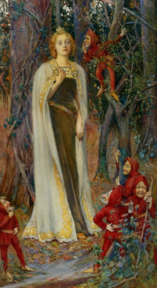 Henry Meynell Rheam Snow White by Henry Meynell Rheam ca1905 Watercolour Art Myth