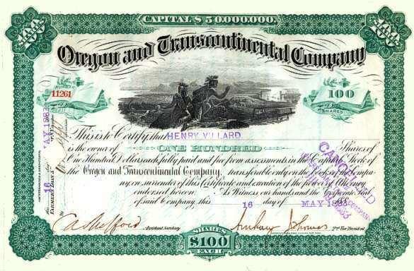Henry Villard Oregon and Trancontinental Company signed by famous financier Henry