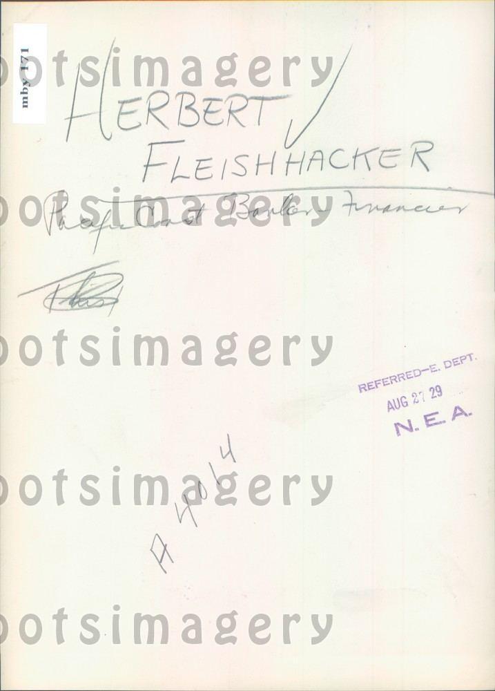 Herbert Fleishhacker 1929 San Francisco Businessman Banker Herbert Fleishhacker Press