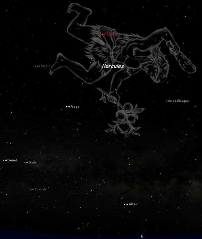 Hercules (constellation) Hercules Constellation Now Showing in Summer Night Sky