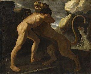 Hercules fighting Nemean lion httpsuploadwikimediaorgwikipediacommonsthu