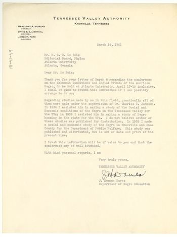 Herman Daves Letter from J Herman Daves to W E B Du Bois March 14 1941