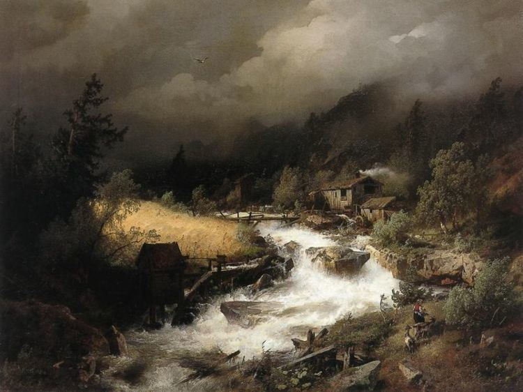 Hermann Ottomar Herzog Hermann Ottomar Herzog The Old Water Mill III Oil Painting