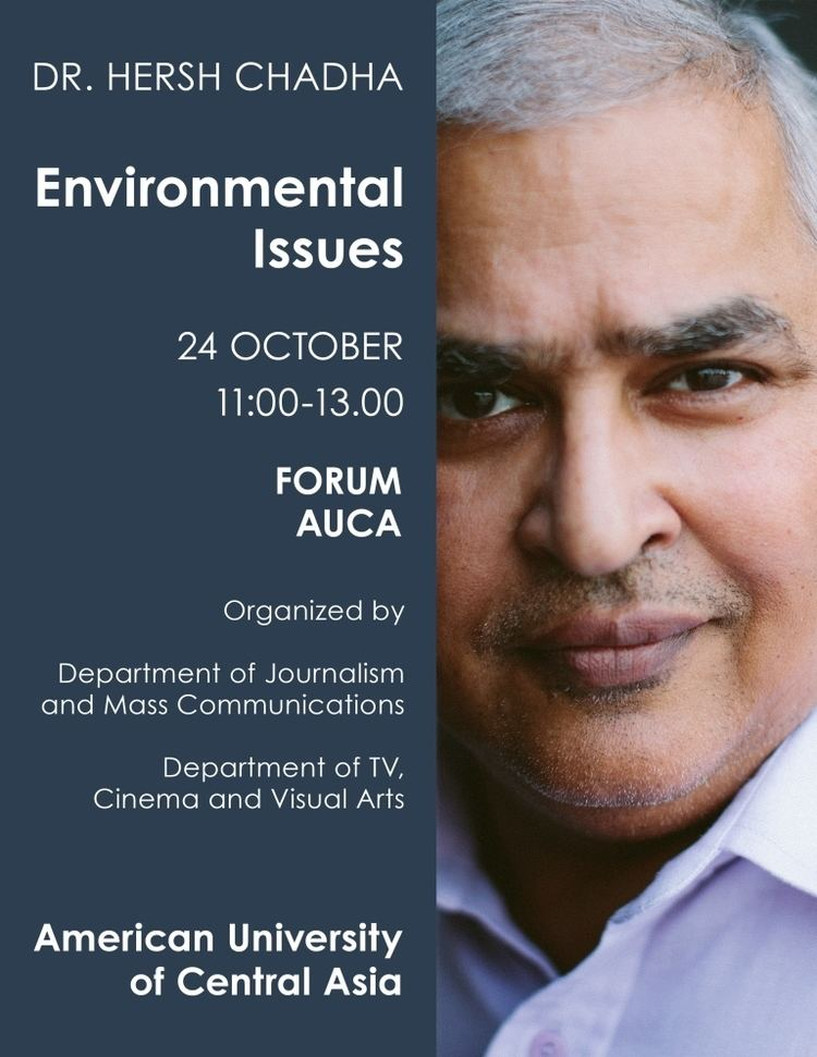 Hersh Chadha We are pleased to invite you to the lecture Environmental Issues