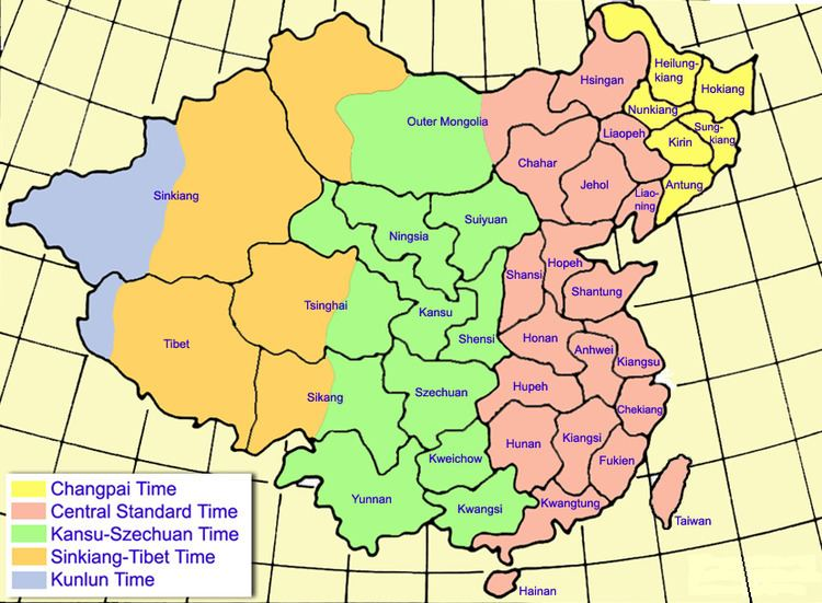 Historical time zones of China