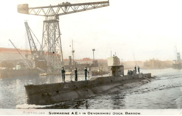 HMAS AE1 Feb 1914 HMAS AE1 at Devonshire Dock BarrowinFurness Flickr