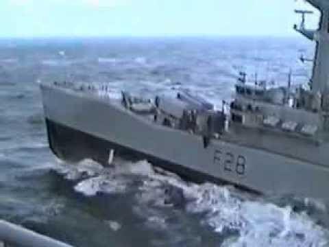 HMS Cleopatra (F28) Hr Ms Zuiderkruis Emergency Breakaway RAS with HMS Cleopatra F28