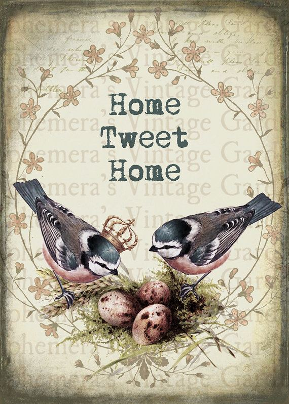 Home Tweet Home Items similar to Printable Wall Art Home Tweet Home Chickadees