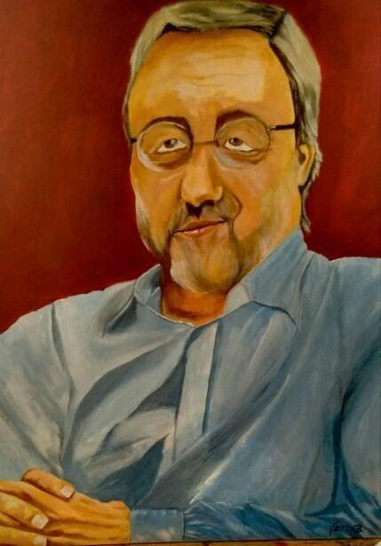 Hugo Van Heuverswyn Dr Hugo Van Heuverswyn Acrlico painting 60x50 By Veroka