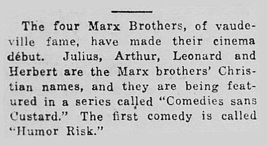 Humor Risk Marxology HUMOR RISK The Marx Brothers