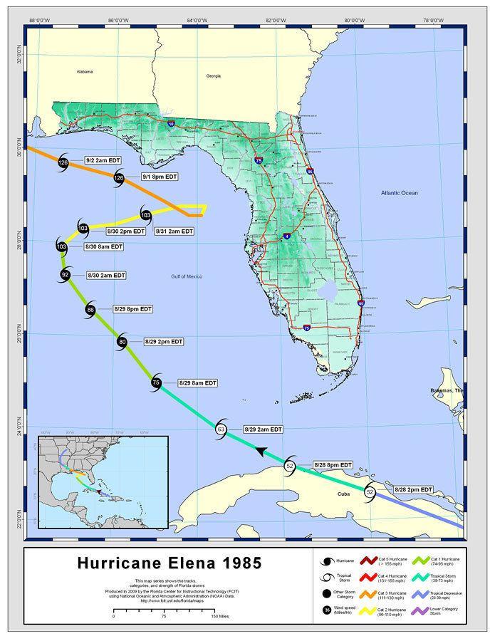 Hurricane Elena Storm Tracks by Name Hurricane Elena 1985