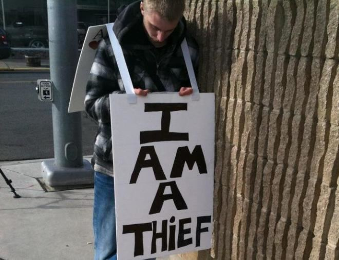 I Am a Thief I am a thief Teen wears sign as punishment for stealing KVAL