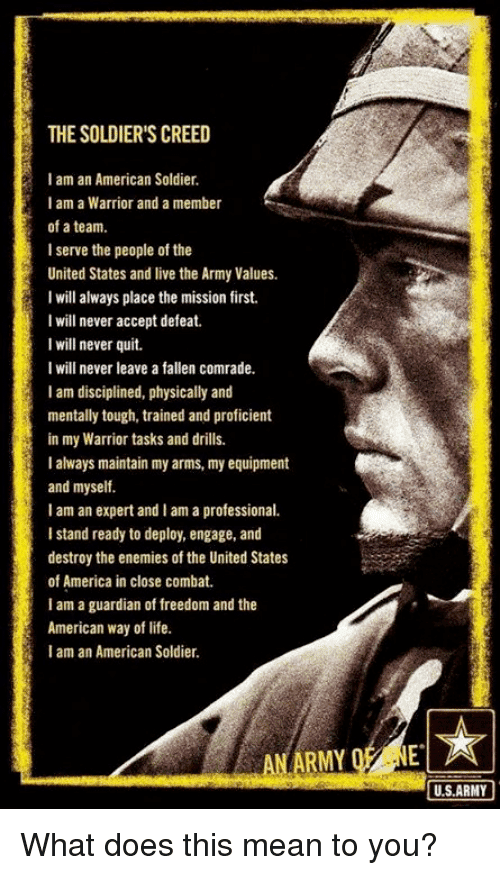I Am an American Soldier The SOLDIERS CREED I Am an American Soldier I Am a Warrior and a