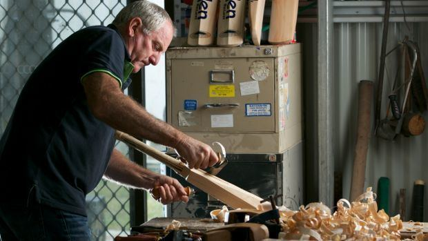 Former Test bowler Ian Callen plays a straight bat to an ancient