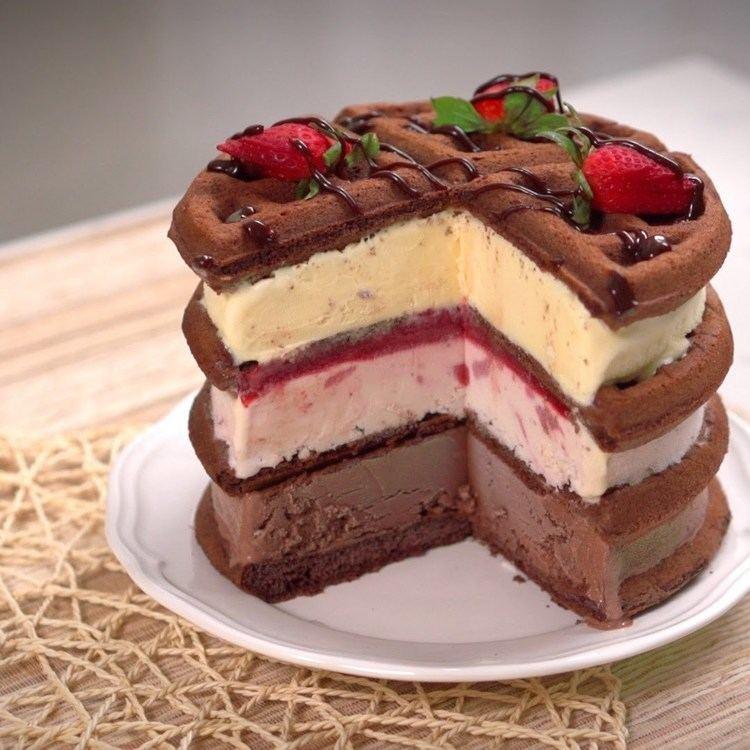 Ice cream cake Waffle Ice Cream Cake YouTube