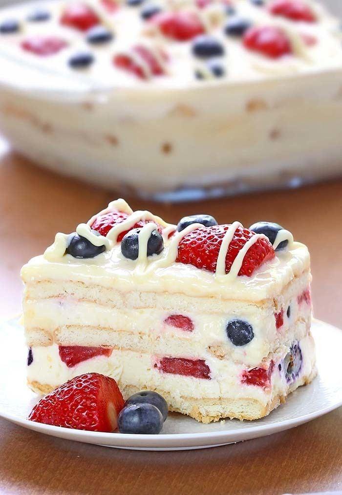 Icebox cake No Bake Summer Berry Icebox Cake Cakescottage