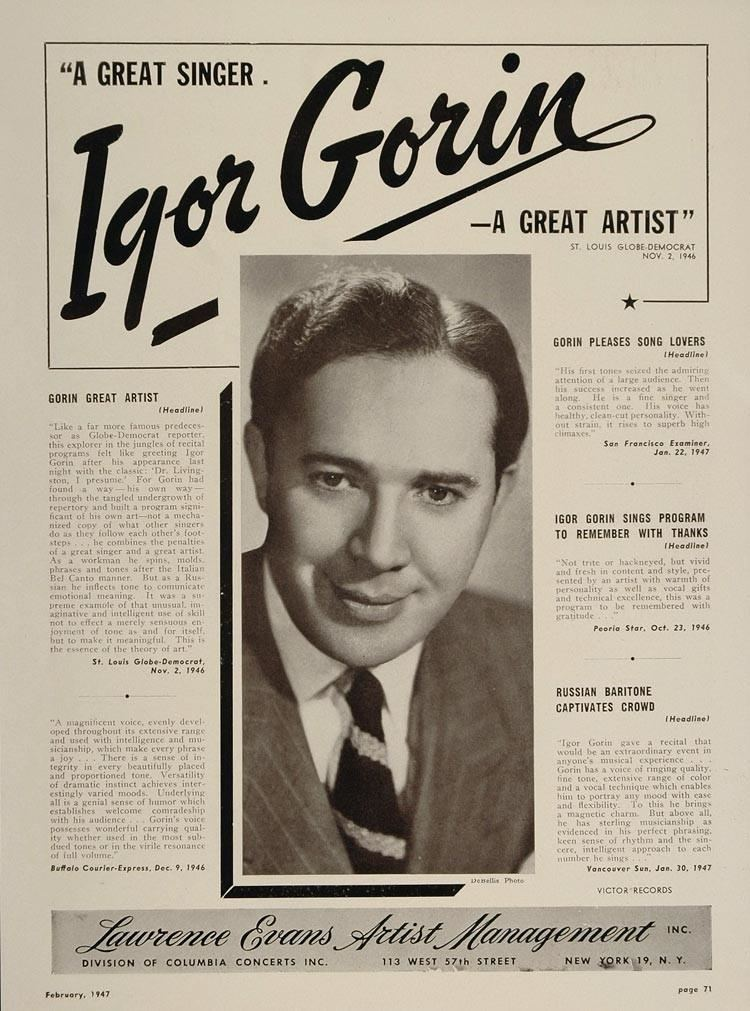 Igor Gorin 1947 Igor Gorin Baritone Lawrence Evans Booking Ad ORIGINAL
