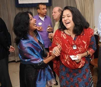 Iloosh Ahluwalia Shovana Narayan and Iloosh Ahluwalia during Cocktail reception in