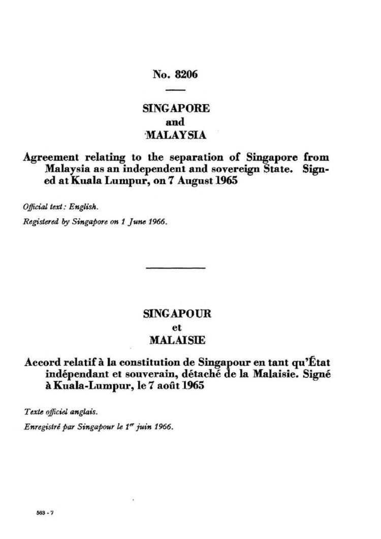 Independence of Singapore Agreement 1965