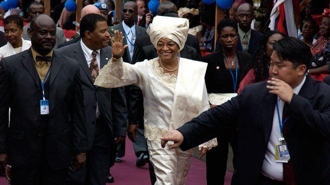 Iron Ladies of Liberia movie scenes President of Liberia Ellen Johnson Sirleaf at her inauguration