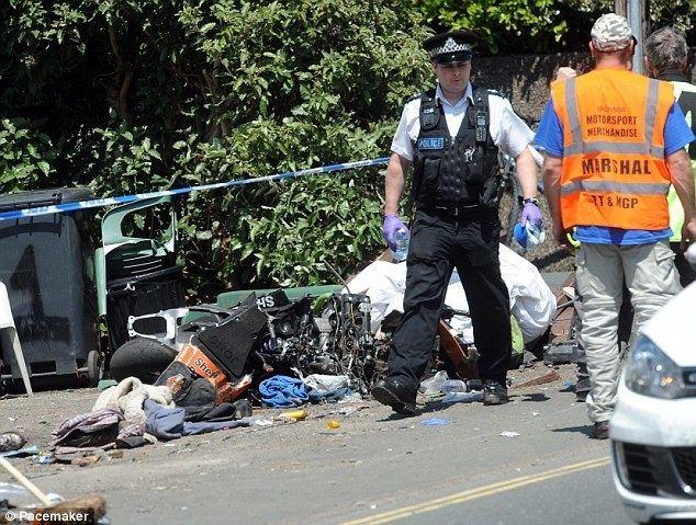 Isle of Man movie scenes Crash scene The Kawasaki race bike of Jonathan Howarth lies at the scene of the