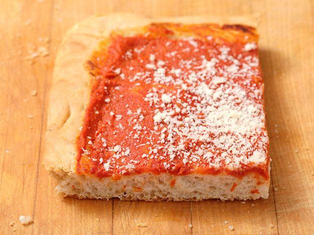 Italian tomato pie Homemade Philadelphia Tomato PieStyle Pizza Recipe Serious Eats
