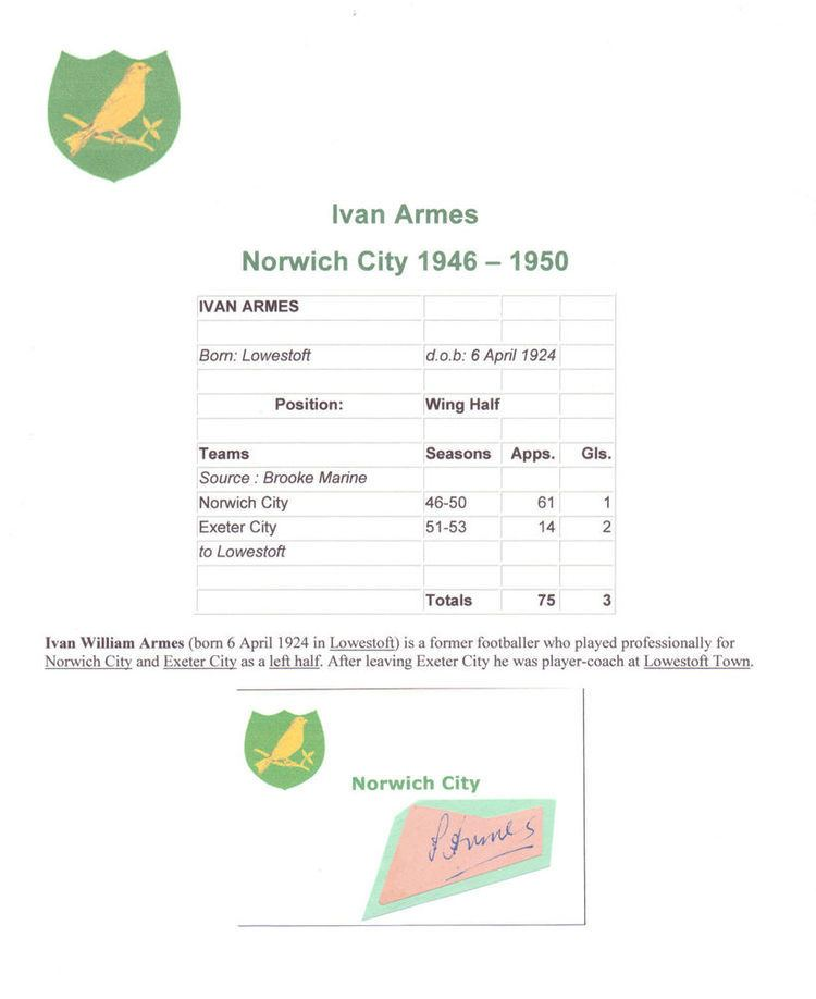 Ivan Armes IVAN ARMES NORWICH CITY 19461950 RARE ORIGINAL HAND SIGNED CUTTING