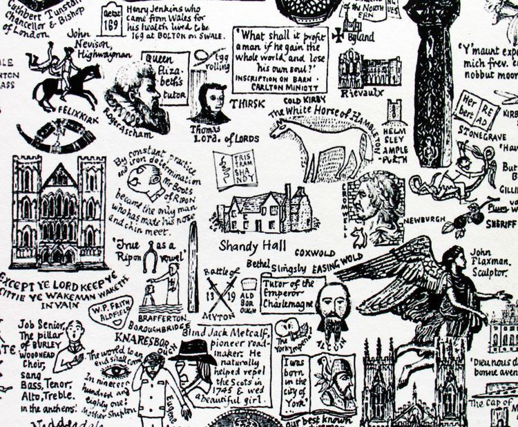 J. L. Carr FileDetail from a literary map of Yorkshire by JL Carr