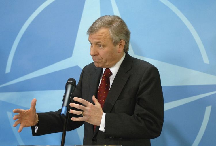 Jaap de Hoop Scheffer NATO Media Library Press point by NATO Secretary General