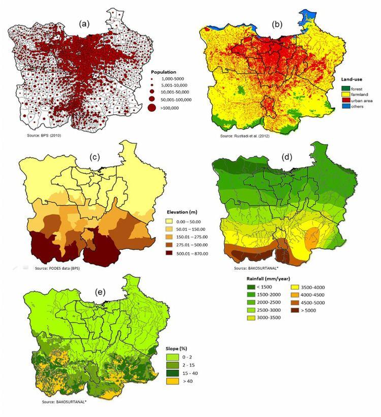 Jabodetabek Thematic Maps of Jabodetabek a Population b Land cover