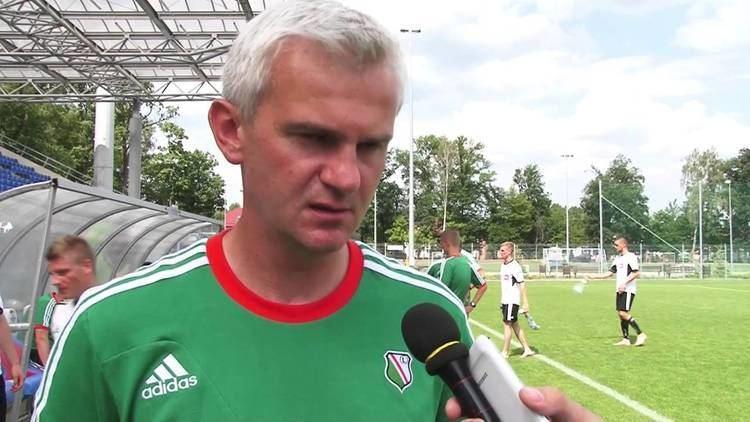Jacek Magiera Trener Jacek Magiera i Wojciech Kochaski po sparingu ze