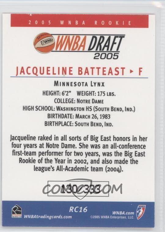 Jacqueline Batteast 2005 Rittenhouse WNBA Draft Picks RC16 Jacqueline