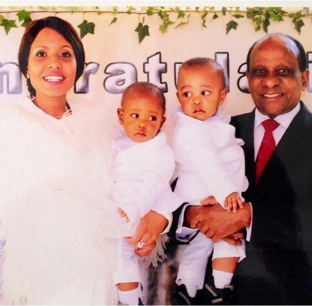 Jacqueline Ntuyabaliwe Family Reginald Mengi and his twins alongside their mother