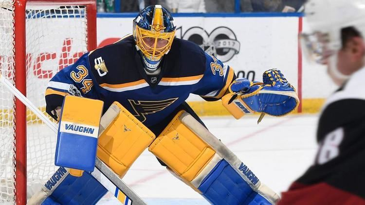Jake Allen (ice hockey) Allen honors Blue Angels with tribute mask
