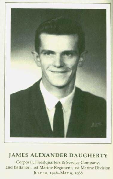 James Alexander Daugherty CPL James Alexander Daugherty USMC HS Company 11 Marines KIA 59