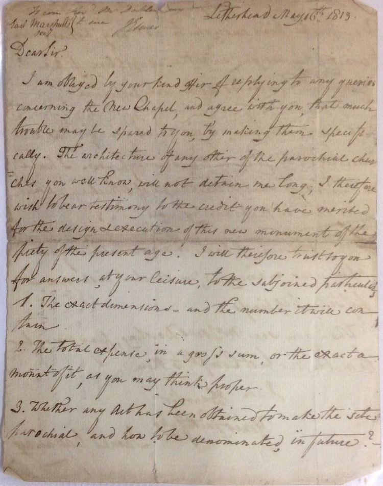James Dallaway Letter discussing the design of a New Chapel James Dallaway
